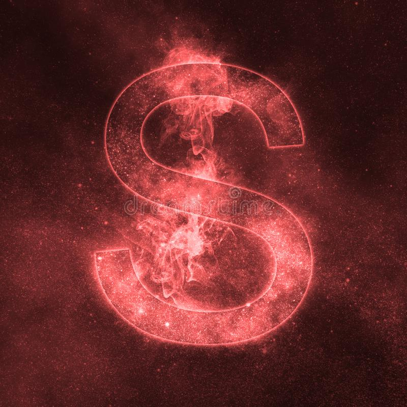 Letter S alphabet symbol. Space Letter, Night Sky Letter. Space letters vector illustration