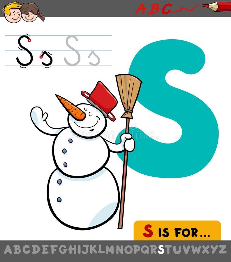Letter s with cartoon snowman vector illustration