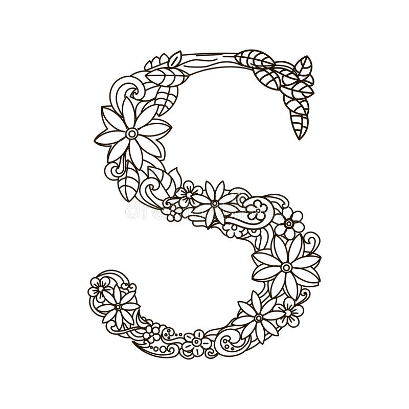 Letter S Coloring Book For Adults Vector Stock Vector