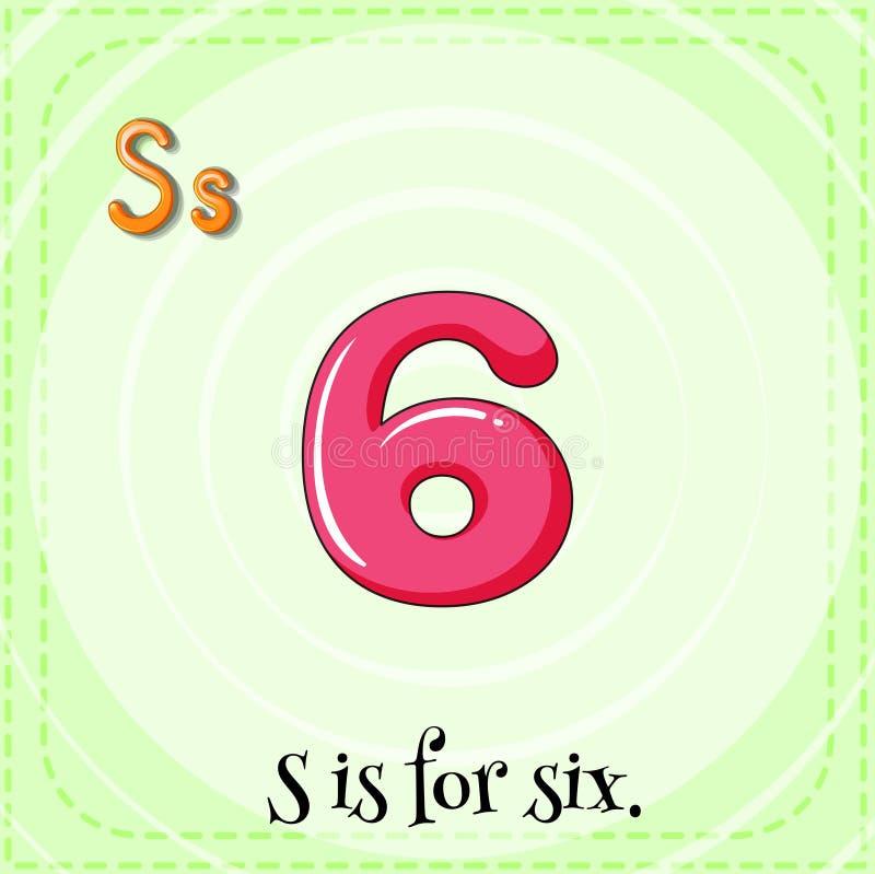 Letter S. Flashcard letter S is for six vector illustration