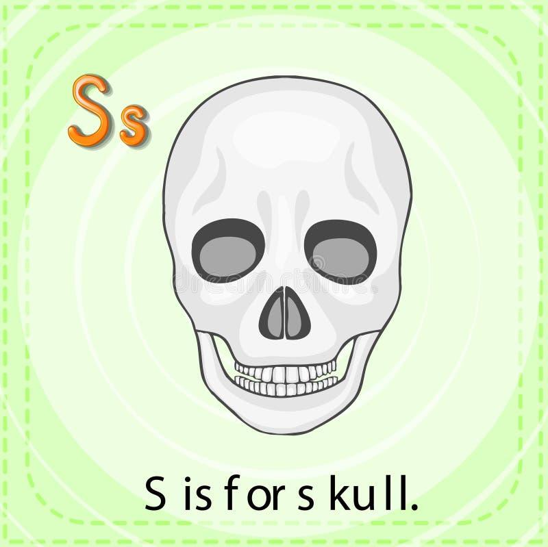 Letter S. Flashcard letter S is for skull vector illustration