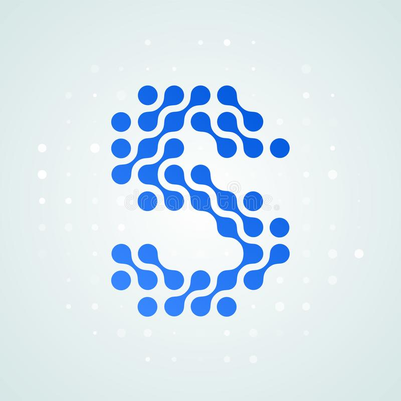 Letter S logo modern halftone icon. Vector flat letter S sign futuristic blue dot line liquid font trendy digital design. Letter S logo modern halftone icon royalty free illustration