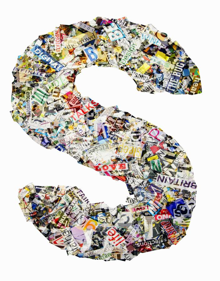 The letter S made from newspaper and magazine isolated stock image