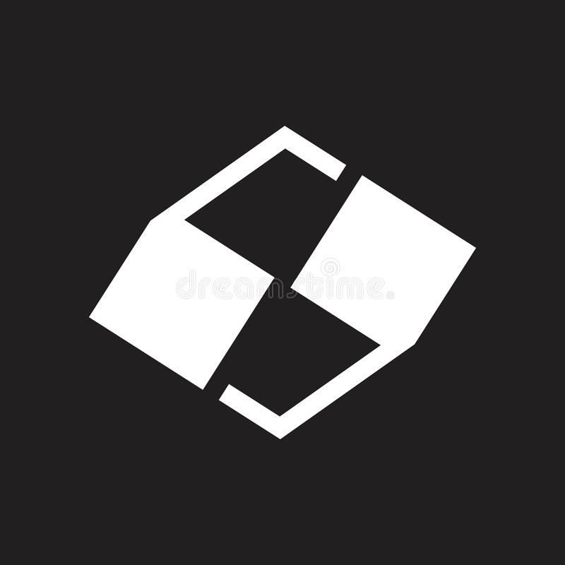 Letter s quotes mark geometric design logo vector. Unique luqury unusual design concept royalty free illustration