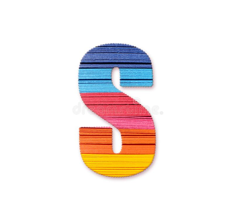 Letter S. Rainbow color paper. royalty free stock images
