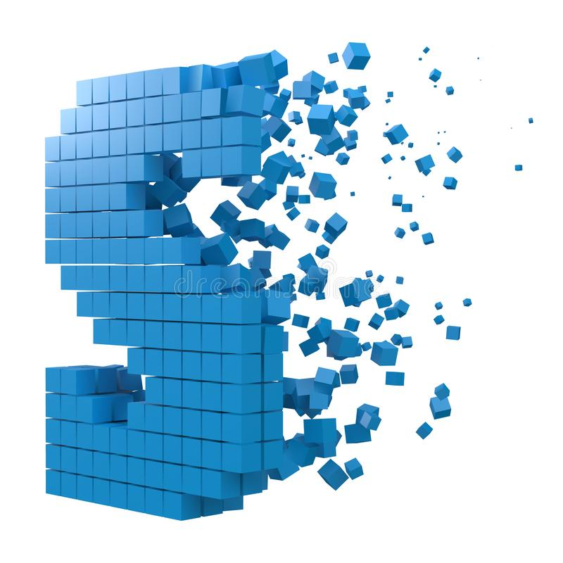 Letter S shaped data block. version with blue cubes. 3d pixel style vector illustration. Suitable for blockchain, technology, computer and abstract themes vector illustration