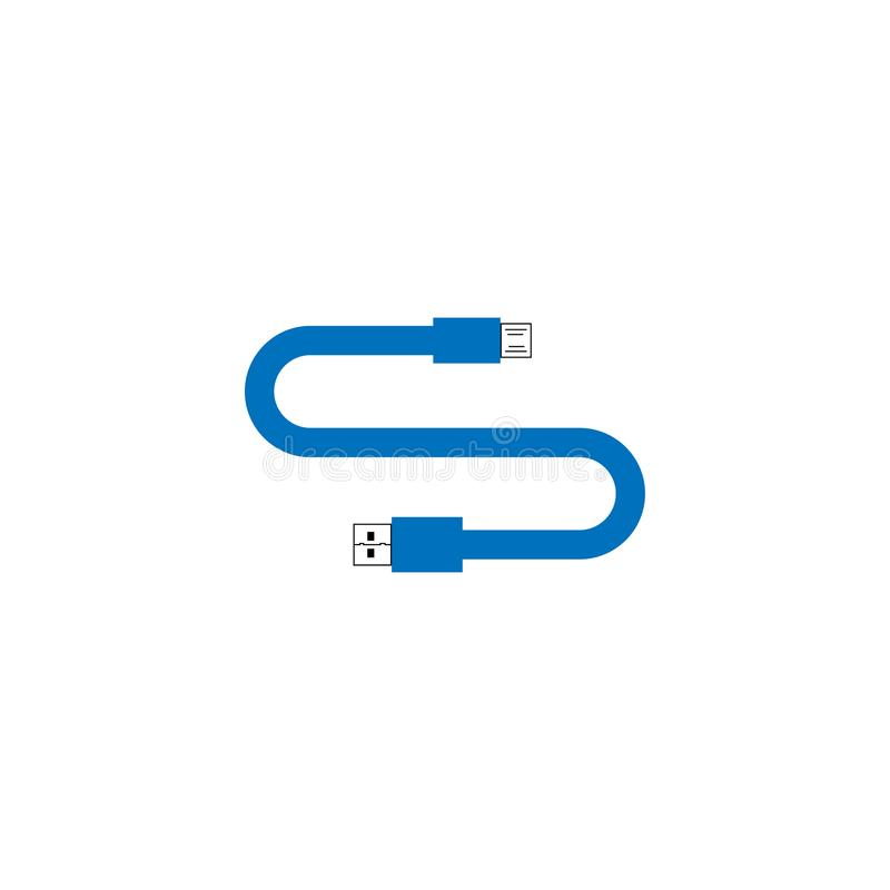 Letter S USB cable with blue color template. Vector stock illustration