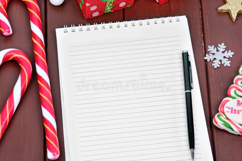 Letter for Santa on notebook royalty free stock photography