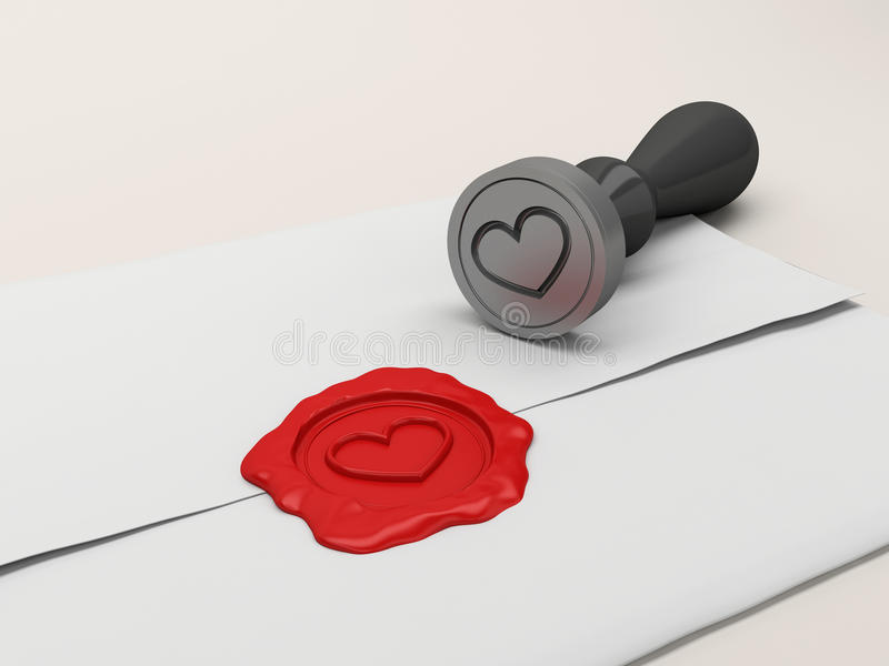 The Letter Sealed By A Stamp With Heart. Stock Photos