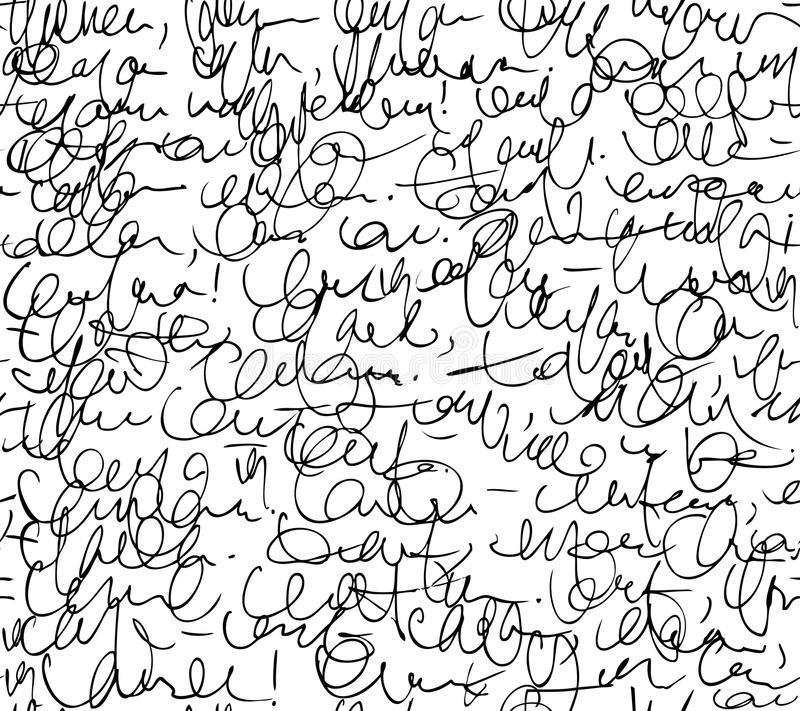 Letter seamless pattern. Black and white script background. royalty free illustration