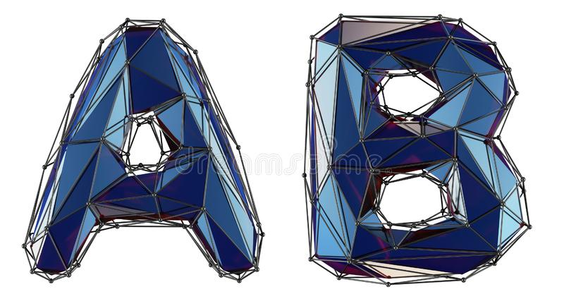 Letter set A, B made of realistic 3d render blue color. Collection of low polly style alphabet isolated on white stock illustration