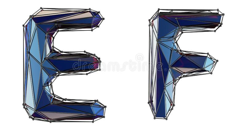 Letter set E, F made of realistic 3d render blue color. Collection of low polly style alphabet isolated on white stock illustration