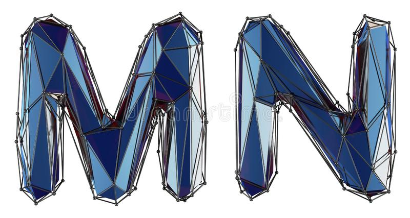 Letter set M, N made of realistic 3d render blue color. Collection of low polly style alphabet isolated on white stock illustration