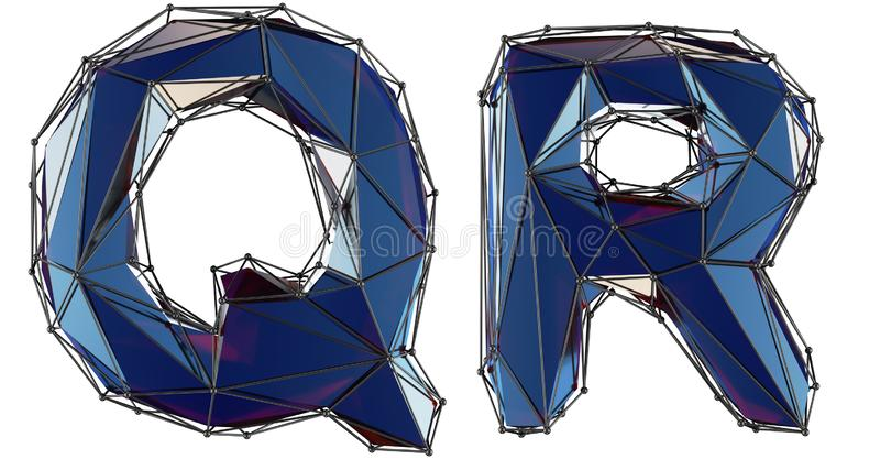 Letter set Q, R made of realistic 3d render blue color. Collection of low polly style alphabet isolated on white royalty free illustration