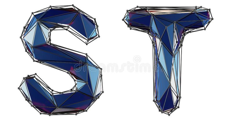 Letter set S, T made of realistic 3d render blue color. Collection of low polly style alphabet isolated on white stock illustration