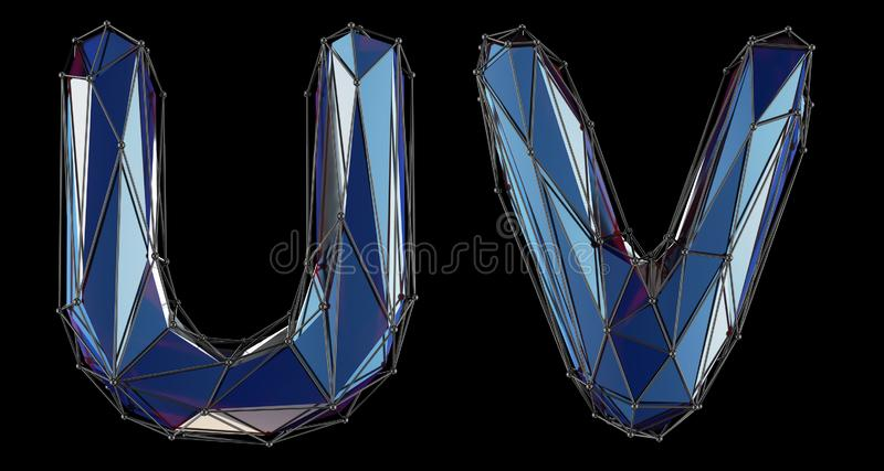 Letter set U, V made of realistic 3d render blue color. Collection of low polly style alphabet isolated on black vector illustration