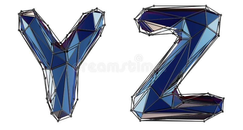 Letter set Y, Z made of realistic 3d render blue color. Collection of low polly style alphabet isolated on white royalty free illustration