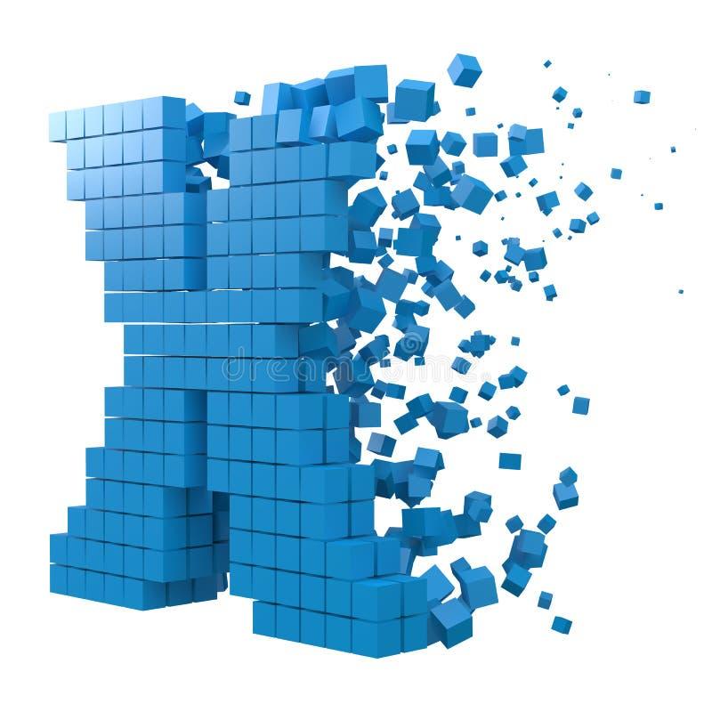 Letter X shaped data block. version with blue cubes. 3d pixel style vector illustration. LetterX shaped data block. version with blue cubes. 3d pixel style vector illustration