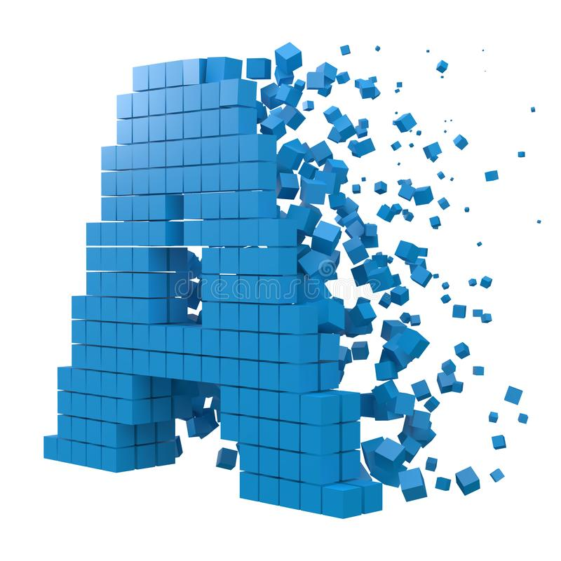 Letter A shaped data block. version with blue cubes. 3d pixel style vector illustration. Suitable for blockchain, technology, computer and abstract themes vector illustration