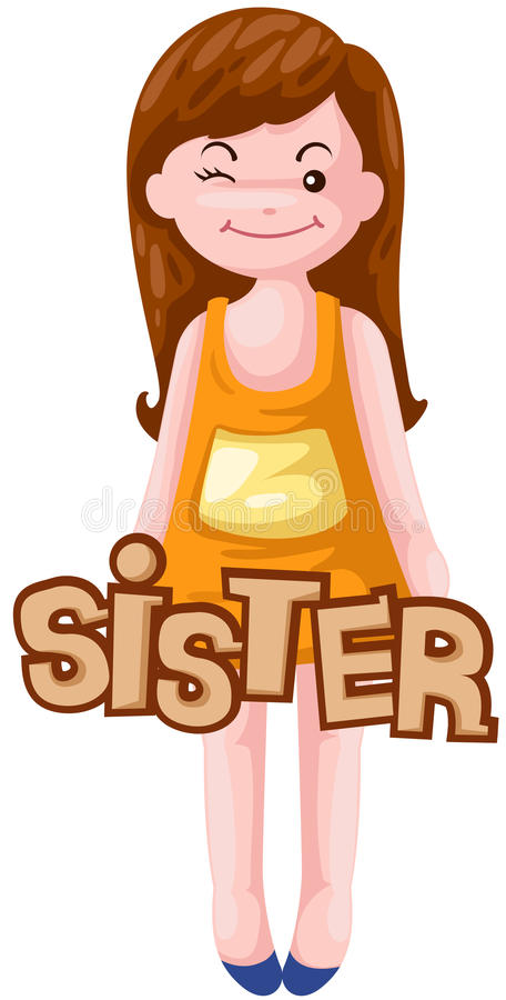 Letter of sister. Illustration of isolated letter of sister white stock illustration