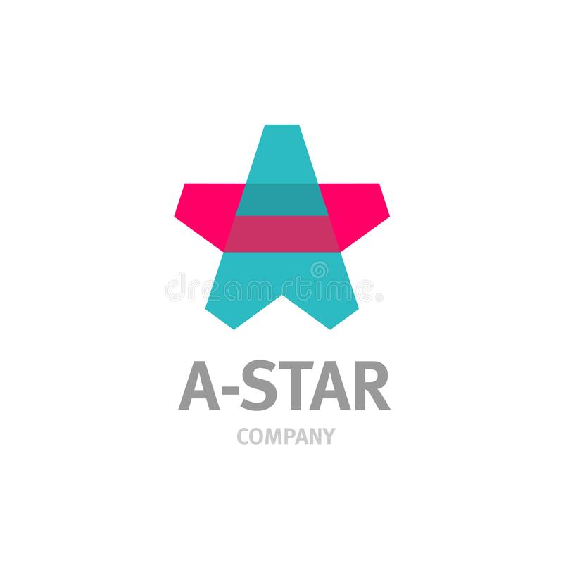 Letter A star shaped overlay logo template. Transparency are flattened royalty free illustration