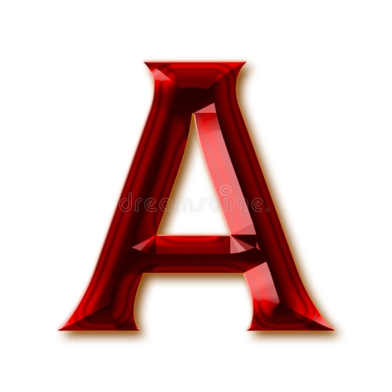 Letter A from stylish faceted ruby alphabet. Shiny gemstone letters, numbers and punctuation marks vector illustration