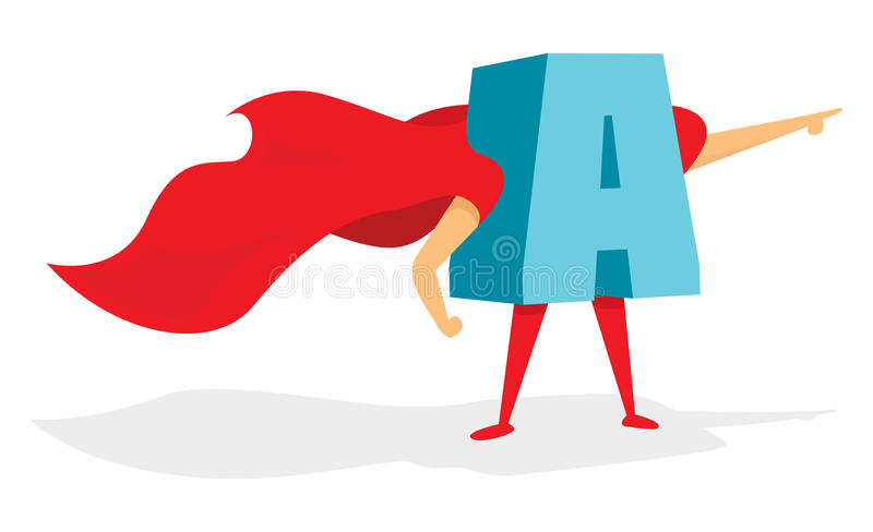 Letter super hero standing with cape. Cartoon illustration of brave letter super hero with cape royalty free illustration