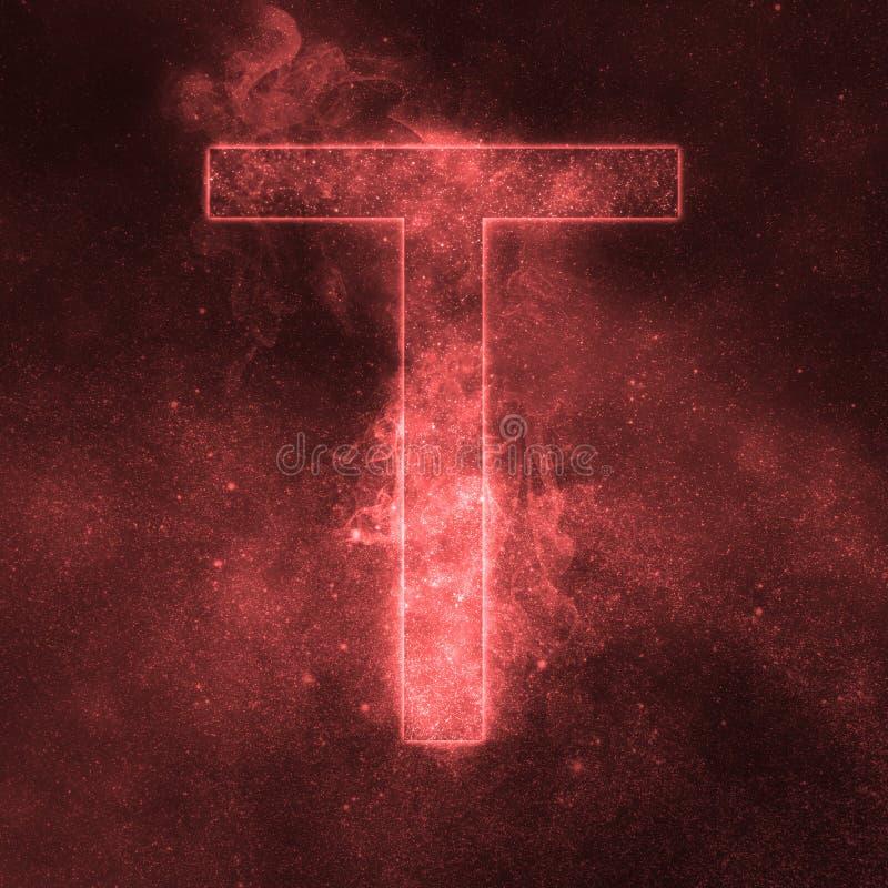 Letter T alphabet symbol. Space Letter, Night Sky Letter. Space letters royalty free illustration