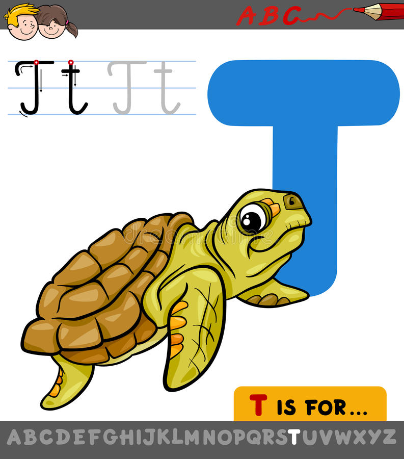 Letter t with cartoon turtle animal royalty free illustration