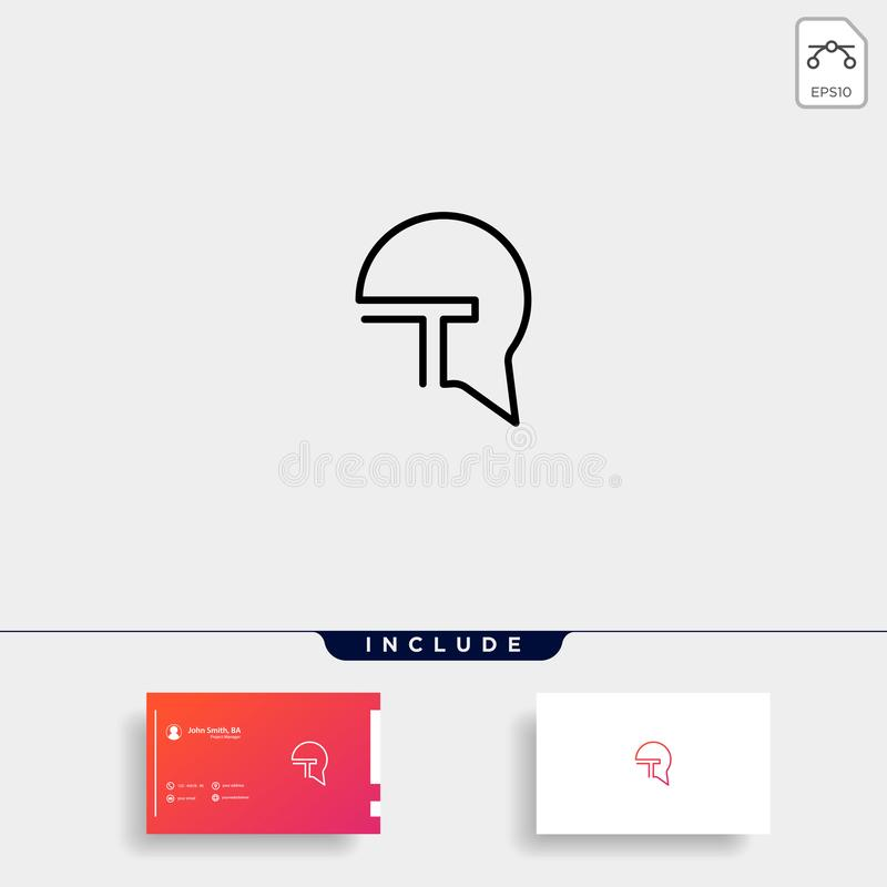 Letter T Chat Bubble Logo Template Vector Design. Message Icon, line, simple, abstract, symbol, graphic, talk, element, shape, creative, social, logotype, web vector illustration