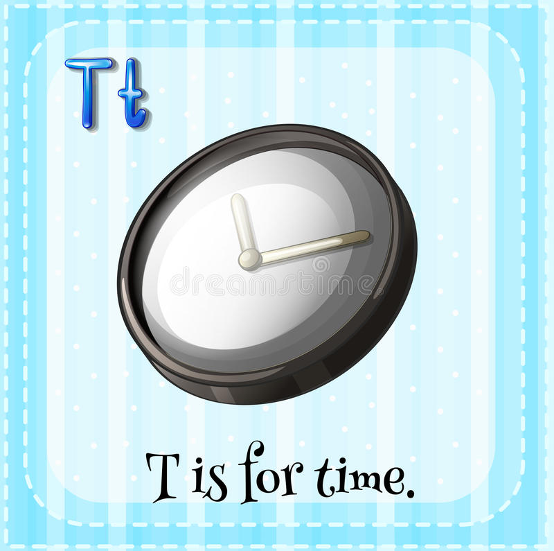 Letter T. Flashcard letter T is for time stock illustration