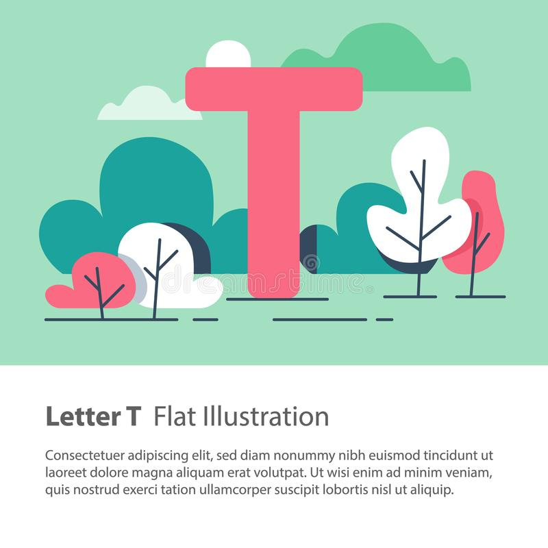 Decorative alphabet, letter T in floral background, park trees, simple font, education concept. Letter T in floral background, park trees, decorative alphabet royalty free illustration