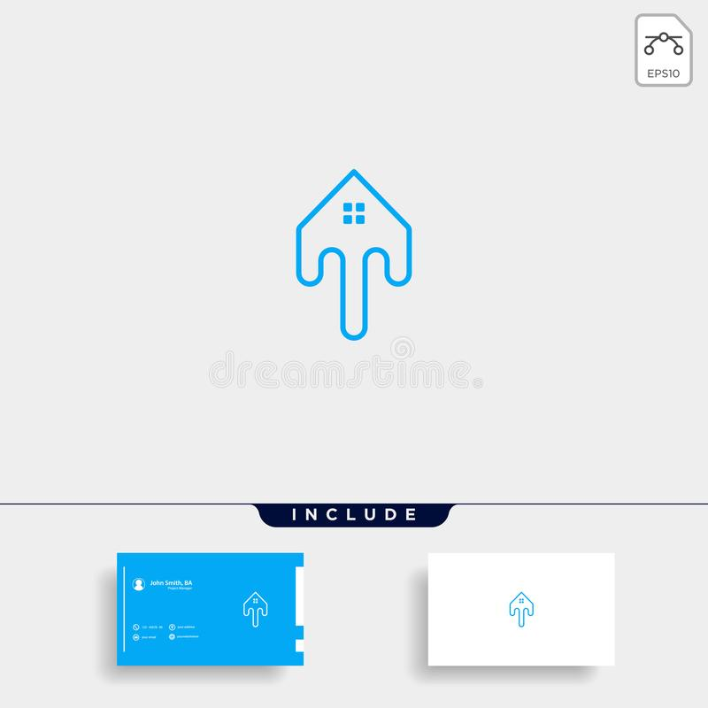 Letter T Home Logo Template Vector Design. Real Estate, line, simple, symbol, business, icon, creative, modern, graphic, shape, logotype, concept, abstract royalty free illustration