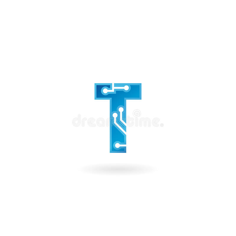 Letter T icon. Technology Smart logo, computer and data related business, hi-tech and innovative, electronic. stock illustration