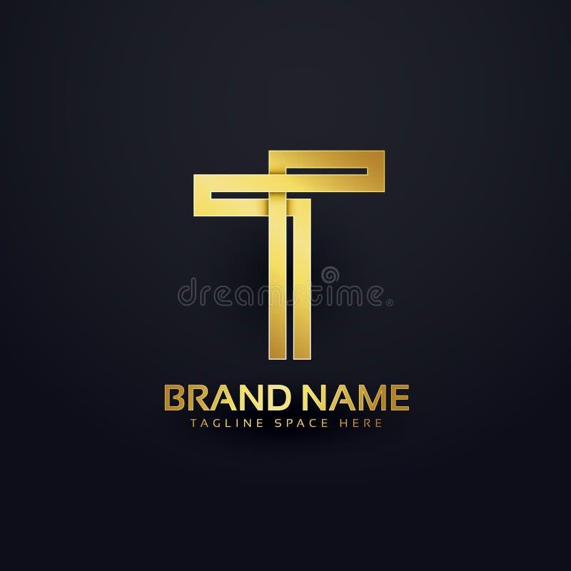 Letter T logo concept design in premium golden style stock illustration