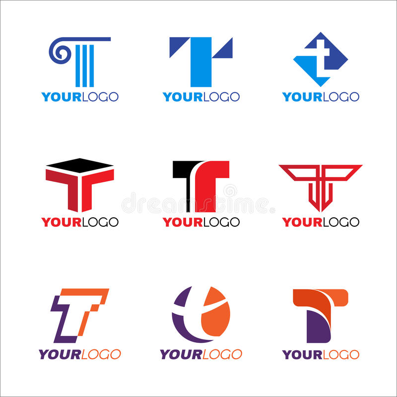 Letter T logo vector set design stock illustration