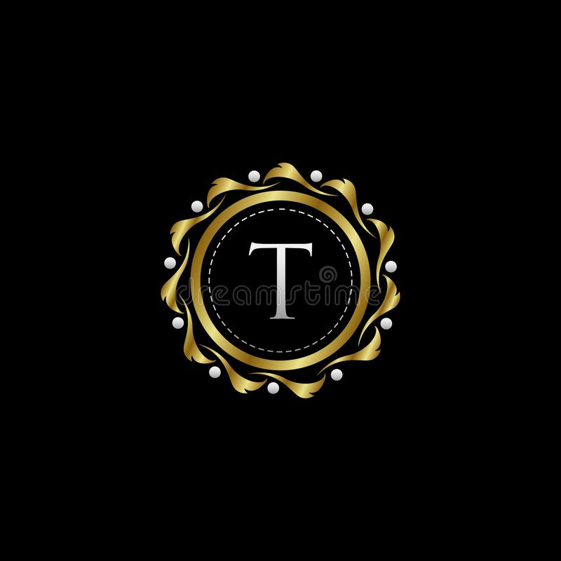 Letter T Luxury Boutique Circle Badge Template Logo. Vector, suitable with classy and vintage theme royalty free illustration
