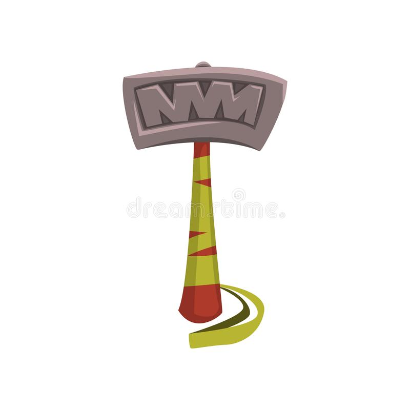Letter T made of big steel hammer with wooden handle. English alphabet, ABC. Detailed font in flat style. Cartoon vector vector illustration