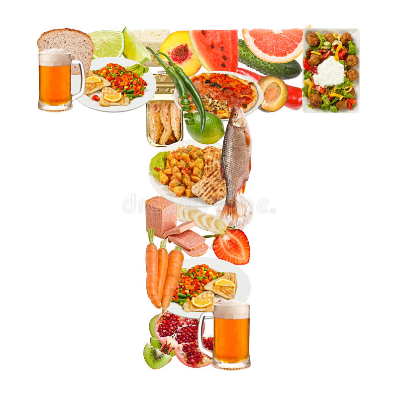 Letter T made of food stock image