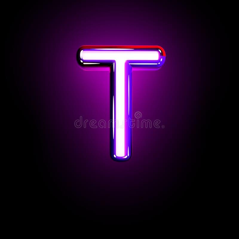 Purple glow neon font - letter T isolated on black background, 3D illustration of symbols. Letter T of neon purple glow alphabet isolated on black - 3D stock illustration