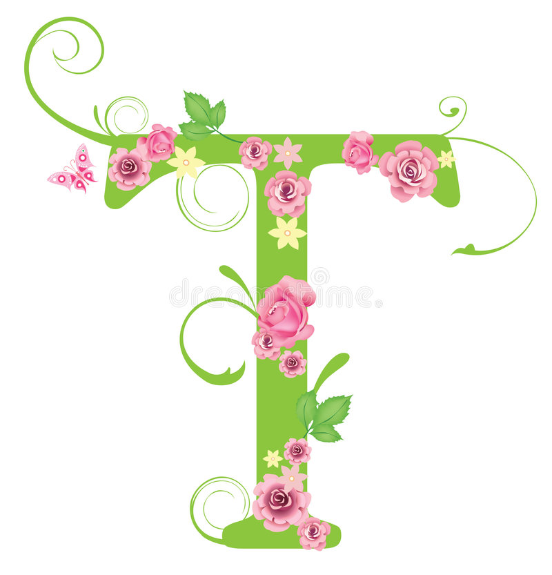 Lettre T: Letter T With Roses Stock Vector. Illustration Of Spell