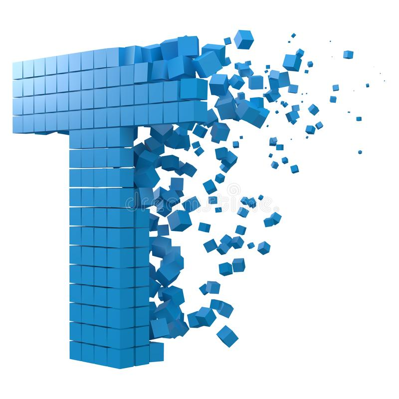 Letter T shaped data block. version with blue cubes. 3d pixel style vector illustration. Suitable for blockchain, technology, computer and abstract themes vector illustration