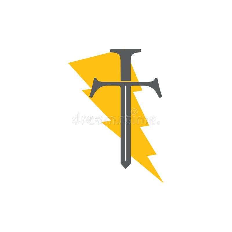 Letter t thunder sword logo vector. Simple luxury unique unusual design concept royalty free illustration