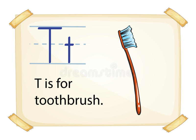 A letter T for toothbrush stock illustration