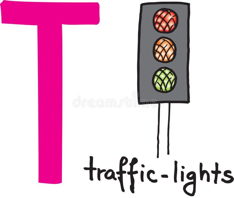 Letter T - traffic lights royalty free illustration