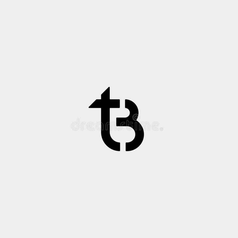 Letter TB BT T B Logo Design Simple Vector. Elegant, initial, luxury, black, brand, gold, typography, fashion, icon, business, logotype, concept, font, beauty stock illustration