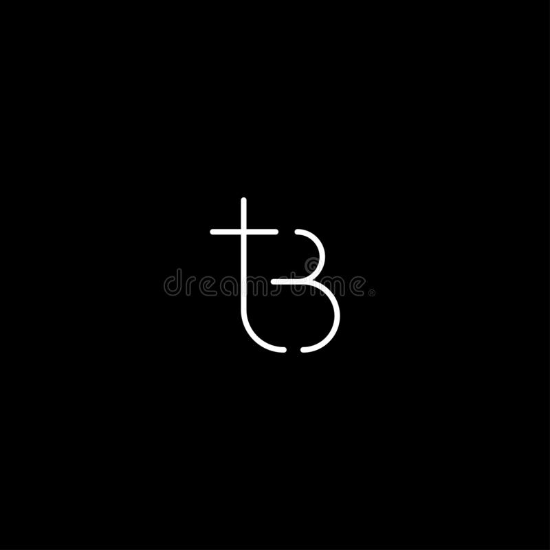 Letter TB BT T B Logo Design Simple Vector. Elegant, initial, luxury, black, brand, gold, typography, fashion, icon, business, logotype, concept, font, beauty royalty free illustration