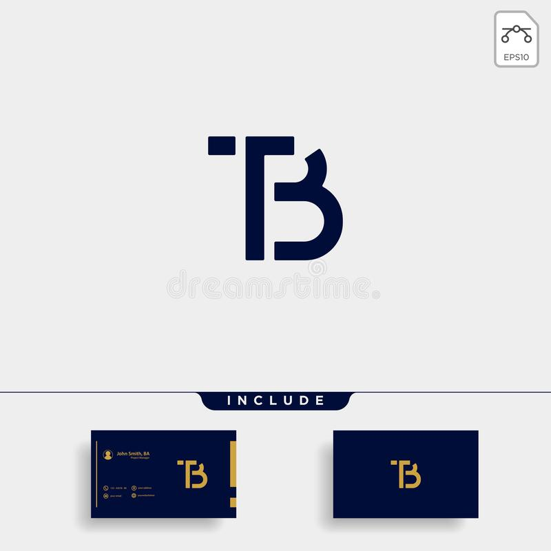 Letter TB BT T B Logo Design Simple Vector. Elegant, brand, initial, gold, typography, luxury, fashion, icon, business, logotype, concept, font, beauty royalty free illustration
