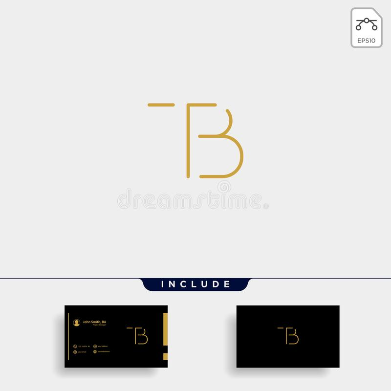 Letter TB BT T B Logo Design Simple Vector. Elegant, brand, initial, gold, typography, luxury, fashion, icon, business, logotype, concept, font, beauty stock illustration