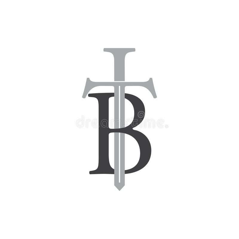 Letter tb sword design logo vector. Simple unique unusual elegant design concept vector illustration